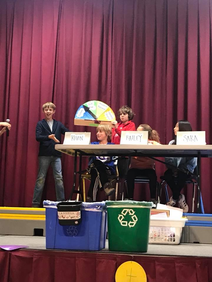 "We re-learned about the 4 ""R's"" and sorting the right way from our fine 5th graders who led this year's ""Place the Waste"" Quiz Show (a must watch!)"