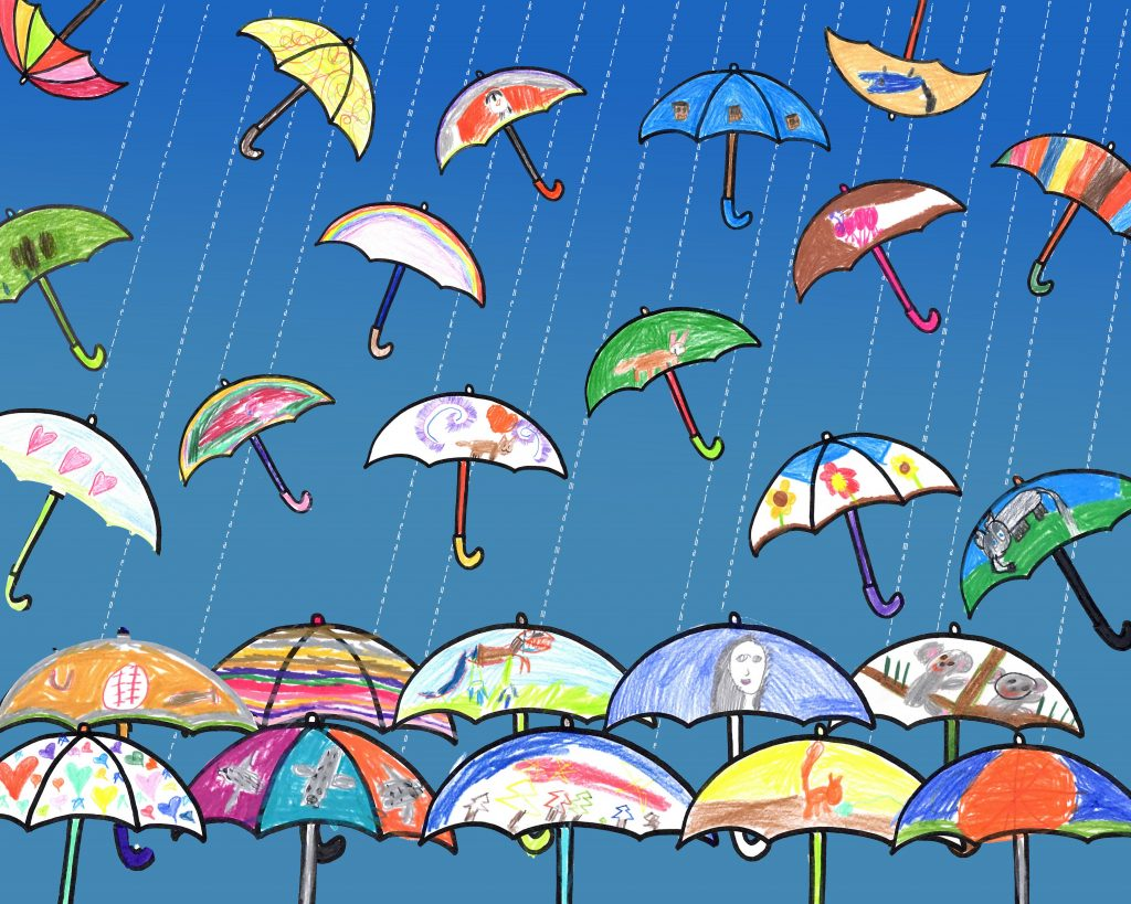 """Umbrellas"" Ms. Davidson--1st Grade"