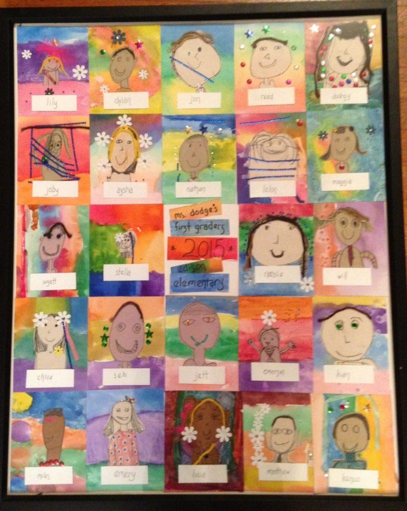"""Self Portraits and Watercolor"" Mrs. Dodge - 1st Grade"