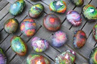 """""""Rainbow River Rock Paper Weights"""" Ms. Dunn-Ruiz's Class (2nd grade) Individual student pieces"""