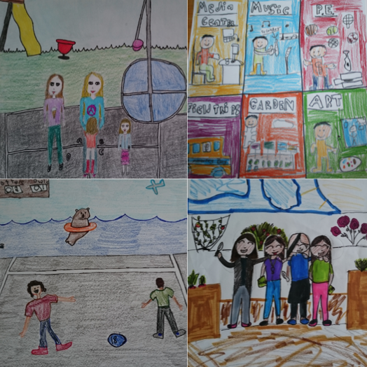"""""""Favorite Memories at Edison""""* Mrs. Schroeder - 5th Grade *Each student did an individual piece. Above is a small sample."""