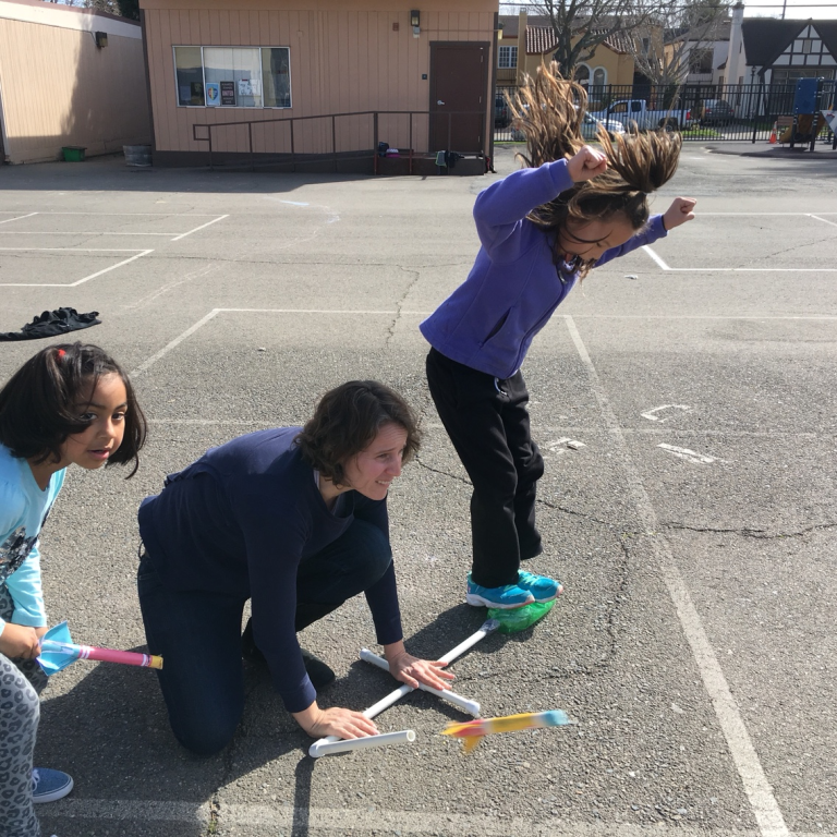 Parents provided a fun learning experience, helping students create - and test - their own stomp rockets!